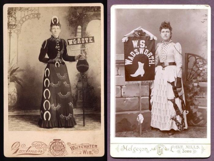 Женщины-баннеры с рекламой на платьях. | Фото: messynessychic.com.