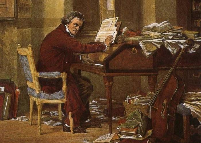 Бетховен за работой. Carl Schloesser, около 1890 г. | Фото: colgrassadventures.com.