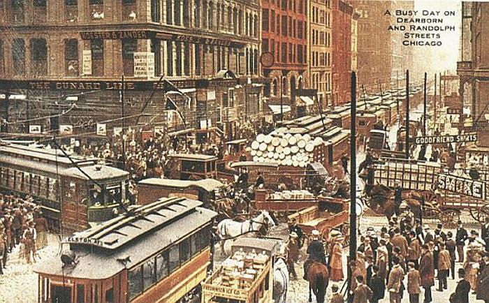 Снимок одной из улиц Чикаго. ок. 1900 г. | Фото: fiveminutehistory.com.