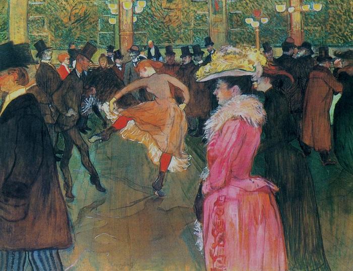 Танец в Мулен Руж. Анри Тулуз-Лотрек, 1890 год. | Фото: fiveminutehistory.com.