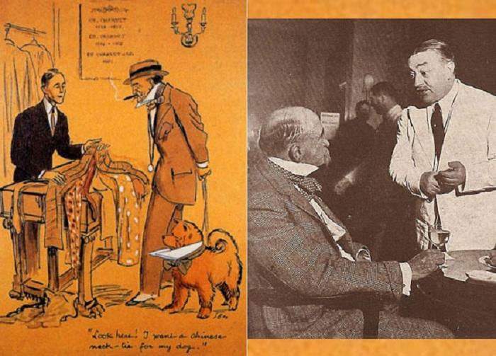 Слева: Карикатура французского журнала на выбор галстука Берри Уолла для его собаки. Справа: Снимок богача в отеле Ritz. Специально для него был создан коктейль «Берри». | Фото: newyorksocialdiary.com.