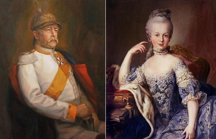 Слева: Отто фон Бисмарк, справа: Мария-Антуанетта.