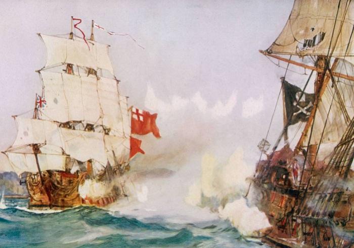 Сцена сражения пиратского и торгового кораблей.