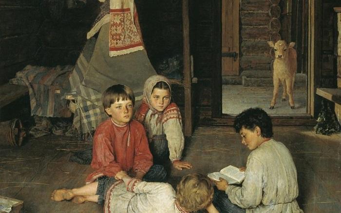 Новая сказка. Н. П. Богданов-Бельский, 1891 год. | Фото: moiarussia.ru.