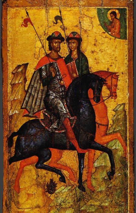 Святые Борис и Глеб на конях, середина XIV века. | Фото: uspensk.ru.