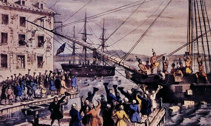 Уничтожение чая в Бостонской гавани. Литография 1846 года. | Фото: i.imgur.com.