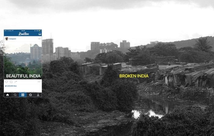 Соседство гламурных отелей и трущоб Индии.