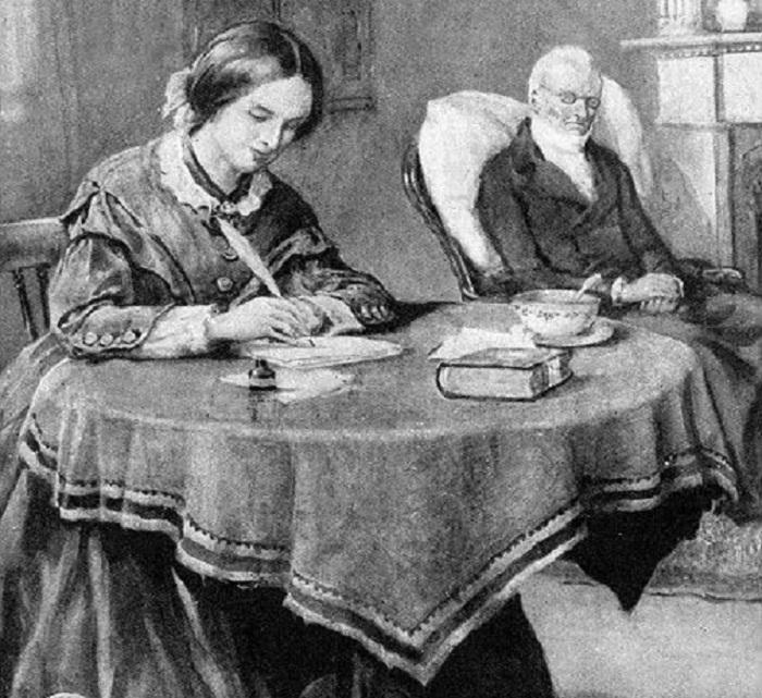 Писательница Шарлотта Бронте и ее отец Патрик Бронте. Рисунок. | Фото: pinterest.com.