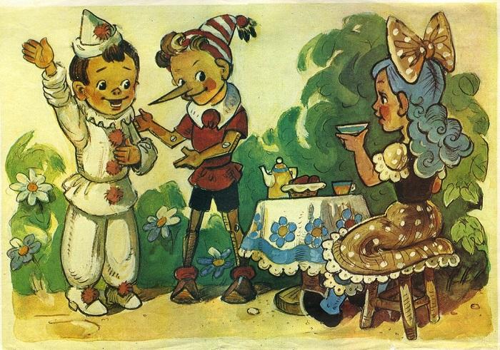 Иллюстрация из детской книги о приключениях Буратино. | Фото: cp14.nevsepic.com.ua.