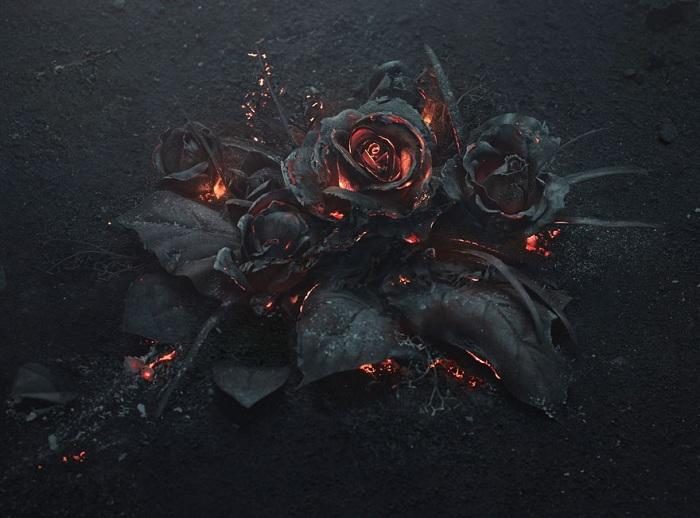 «The Ash» - композиция с розами, припорошенными пеплом.