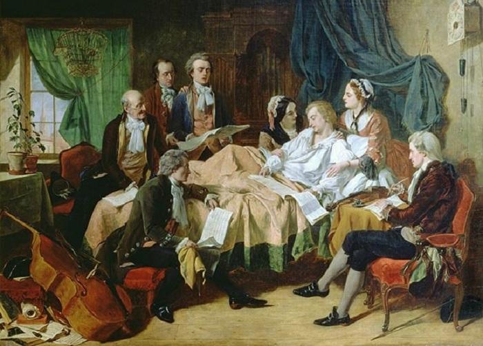 Отравление Моцарта. Картина работы Генри Нилсена О`Нила (1860-е годы).