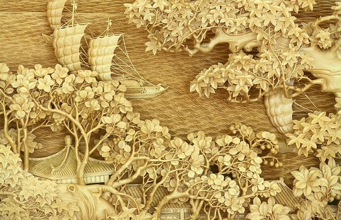 Ðлегантная рельефная резьба по дереву.