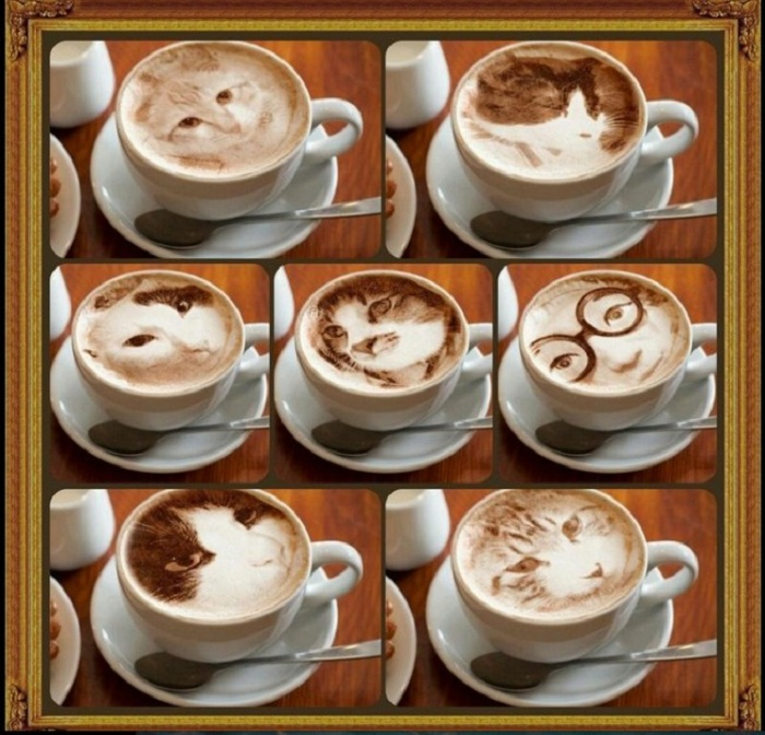 Изображения, выполненные на кофейной пенке.