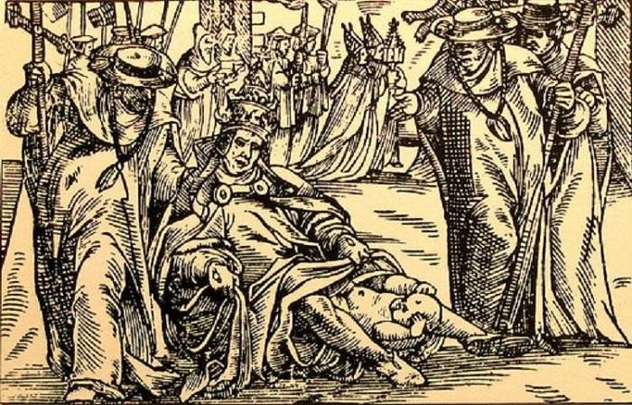 Изображение родов папессы Иоанны.