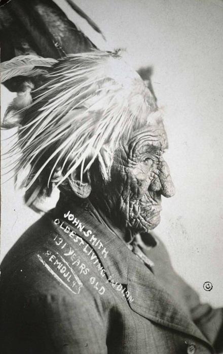 Джон Смит - самый известный индеец-долгожитель.   Фото: rarehistoricalphotos.com.