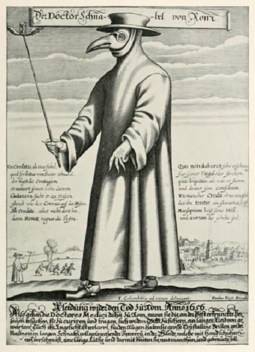 Доктор Шнабель фон Ром («Доктор Клюв Рима»), гравюра Поля Фюрста, 1656 | Фото: thevintagenews.com.