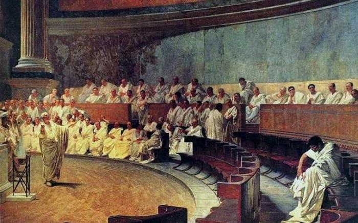 Цицерон произносит речь против Катилины. Чезаре Маккари. | Фото: pereprava.org.