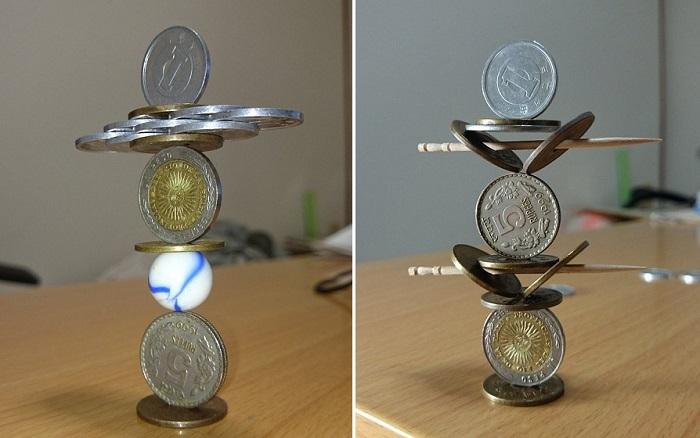 Японец создает из монет конструкции, которые бросают вызов всем законам гравитации. | Фото: odditycentral.com.