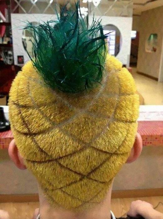 Необычная стрижка в виде ананаса.