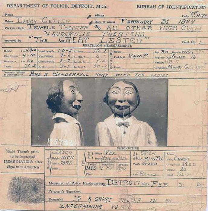 Выписка из дела куклы Фрэнка Байрона-младшего, обвиняемого в убийстве в 1924 году. | Фото: supercoolpics.com.