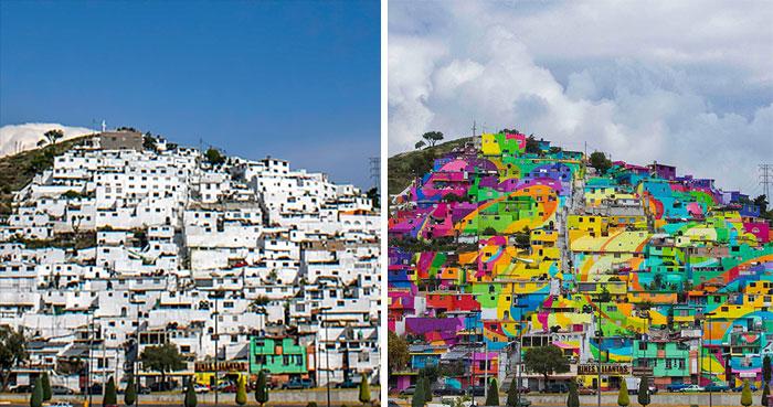Мексиканский город полностью раскрасили уличные художники.
