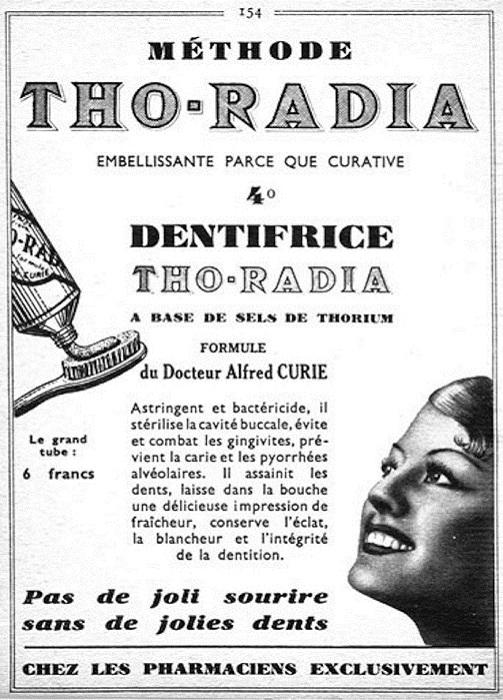Радиоактивная зубная паста для ослепительной улыбки.