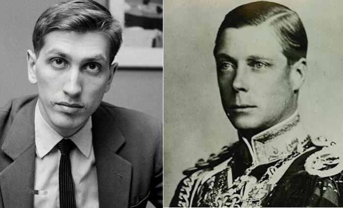 Слева: шахматист Бобби Фишер, справа Эдуард VIII - британский король, отрекшийся от престола.