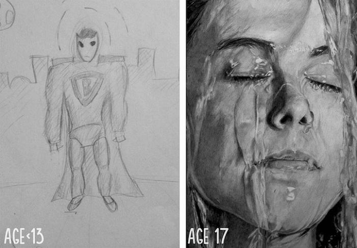 Рисунки до и после упорной практики художника.