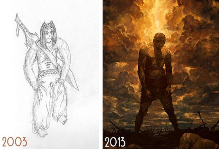 Рисунки пользователя Noah Bradley с разницей в несколько лет.