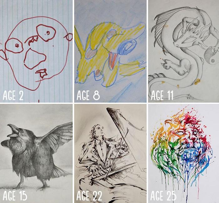 Забавные детские рисунки Marc Allante сменились яркими и талантливыми произведениями.