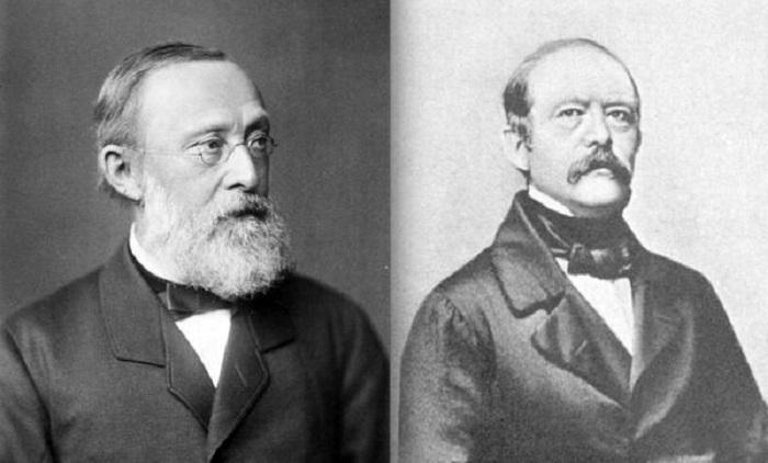 Слева: Рудольф Вирхов, справа: Отто фон Бисмарк. | Фото: maximonline.ru.