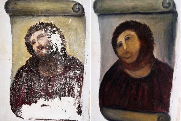 Фреска «Ecce Homo» до «реставрации» и после. | Фото: amusingplanet.com.