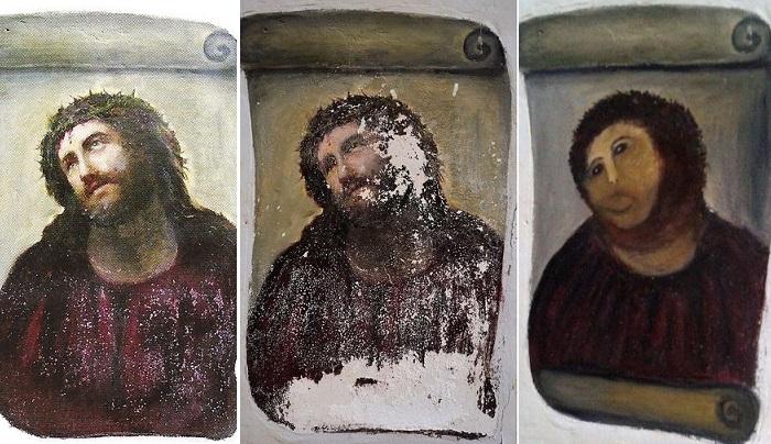 Фреска с Изображением Иисуса Христа в храме Милосердия (Борха.) | Фото: amusingplanet.com.