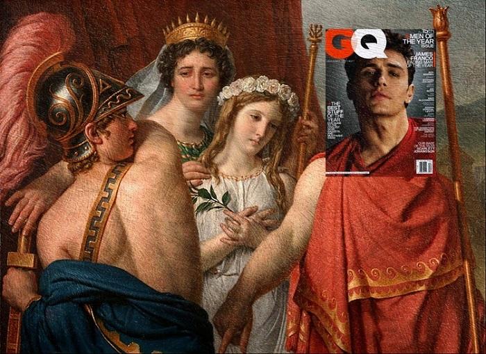 Джеймс Франко (журнал GQ) + картина «Гнев Ахилла» Жак-Луи Давид.