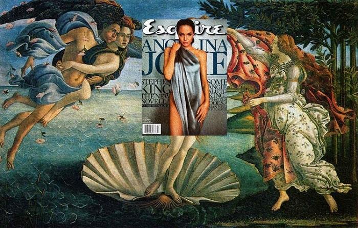 Анджелина Джоли (журнал Esquire) + картина «Рождение Венеры» Сандро Боттичелли.