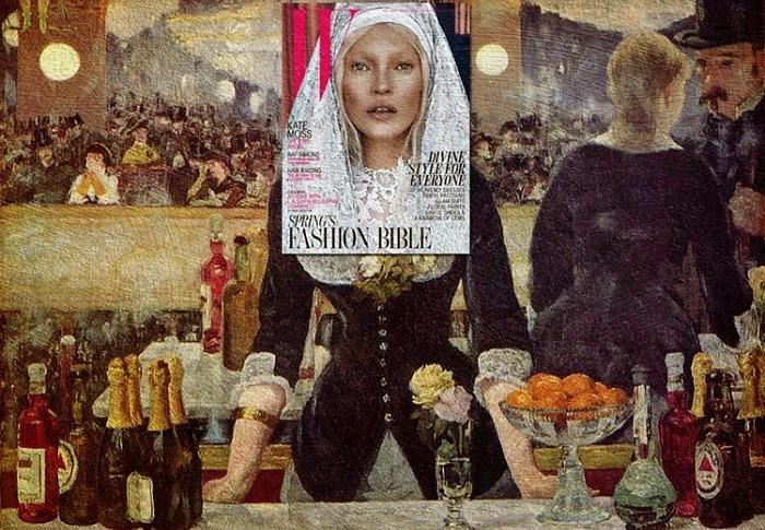 Кейт Мосс (журнал W) + картина «Бар в Фоли-Бержер» Эдуарда Мане.