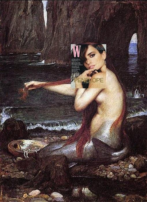 Пенелопа Крус (журнал W) + картина «Русалка» Джона Уильяма Уотерхауса.