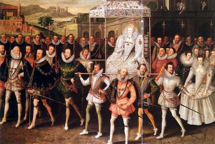 Королева Елизавета I Тюдор в окружении своих подданных.