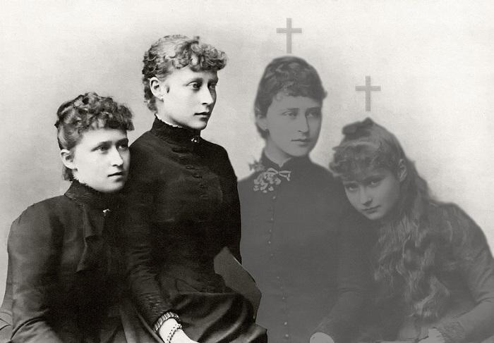 Четыре сестры Гессен-Дармштадских (слева направо) - Ирен, Виктория, Элизабет и Аликс, 1885 год. | Фото: fiveminutehistory.com.