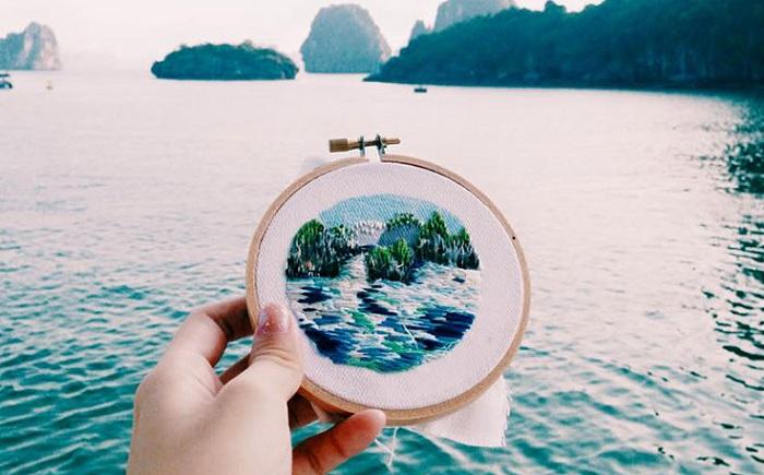 Вышитый залив в Вьетнаме.