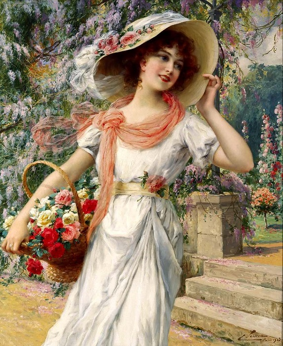 Цветочный сад. Э. Вернон, 1915 год. | Фото: fiveminutehistory.com.