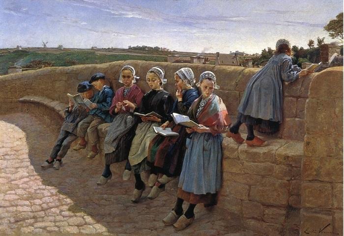 Бретонские дети читают. Э. Вернон, ок. 1913 г. | Фото: fiveminutehistory.com.