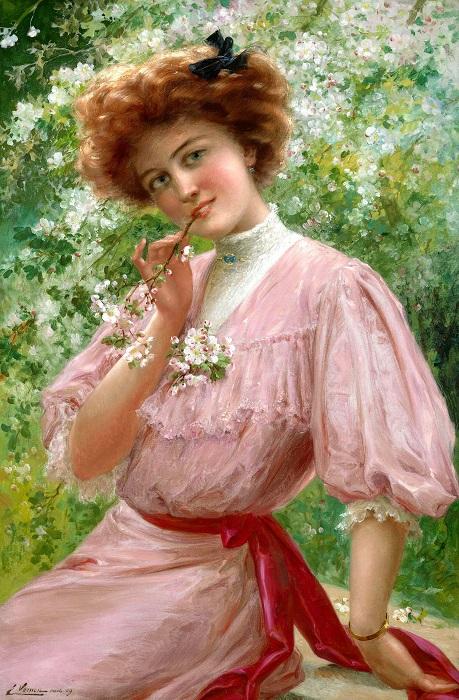 Красавица в розовом. Э. Вернон. | Фото: fiveminutehistory.com.