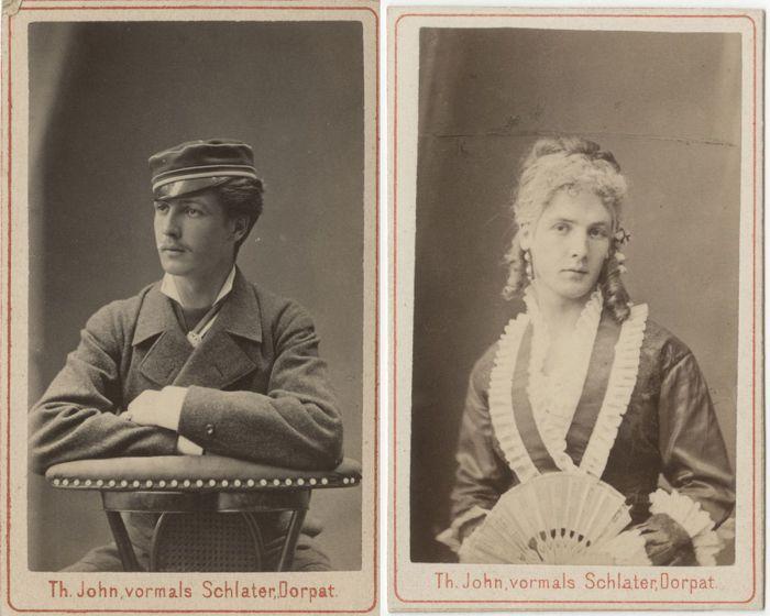 Фридрих фон Вольф - эстонский студент, переодевшийся в женское платье.