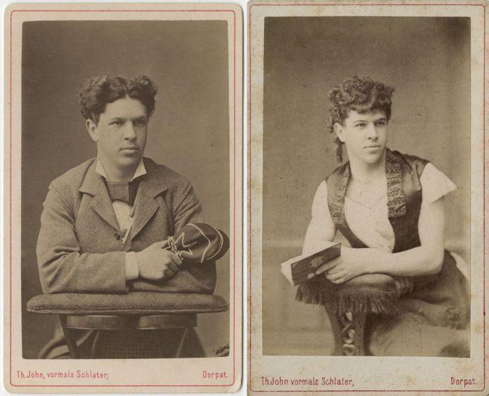 Johannes Adolphi - эстонский студент, переодетый в женский наряд, ок. 1885 г.