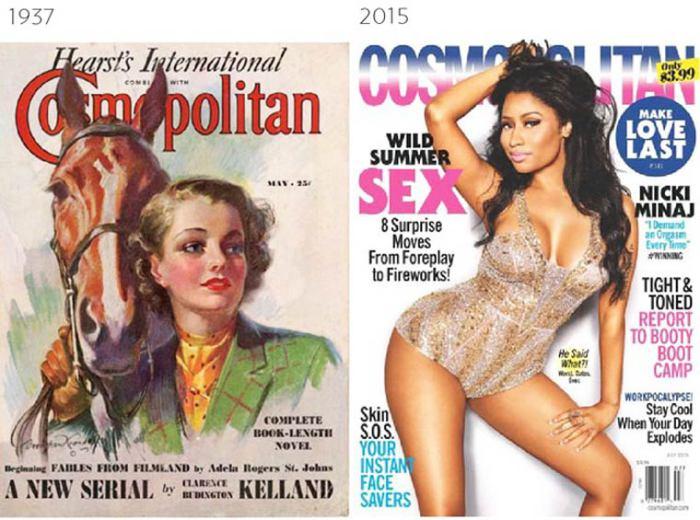 Обложки журнала Cosmopolitan разных десятилетий.