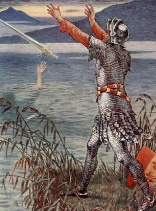 Король Артур выбрасывает меч в озеро. | Фото: fb.ru.