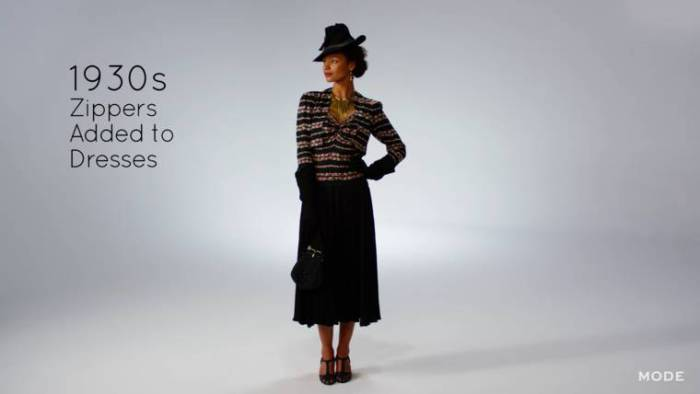 В 1930-х годах к платьям стали пришивать застежки-молнии.