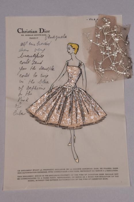 Оригинальная модная иллюстрация Кристиана Диора, 1954 год.