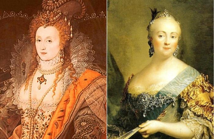 Слева: королева Елизавета I Тюдор, справа: российская императрица Елизавета Петровна.